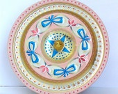 vintage English Baret ware round tin canister container box with lid-tea,cookie,biscuit-pink,blue bows,gold scallop&knob-shabby chic-storage