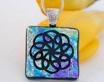 Etched Dichroic Flower Pendant, Glass Pendant, Fused Glass Jewelry, Flower, Etched