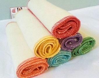 "18 Organic Baby Wipes - Cloth Diaper Wipes - Organic Washcloths - Hemp Organic Cotton Fleece - 7""square - rainbow"