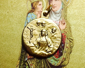SAINT RITA MEDAL Vintage Religious Gilded Angels Devotion