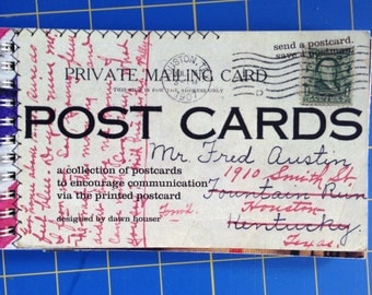handconstructed printed POST CARDS postcard spiral bound book
