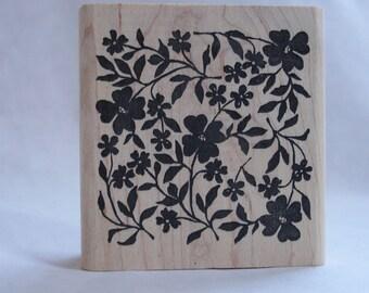 carved paper flower allover design rubber stamp