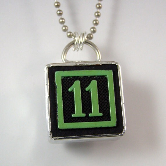 number 11 pendant necklace by xohandworks on etsy