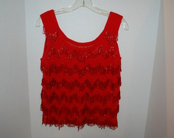 Red beaded vintage sweater
