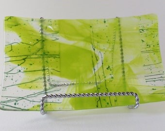 Fused Glass Dish, Shades of Green, Rectangle Serving Dish, Dinning and Entertaining, Statteam