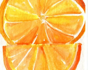 Oranges ACEO, Watercolor Painting Original, Original Fruit Orange ART, original watercolor painting of orange, orange slice