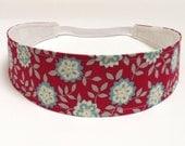 Headband Reversible Fabric  -  Marsala Red, Blue, Cream Floral Headband  -  Headbands for Women -  CAITLYN