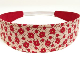 Headband Reversible Fabric  -  Red, Yellow & Cream Flowers Floral Headband  -  Headbands for Women -  PAIGE