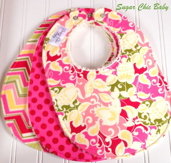SALE - Baby Bibs for Baby Girl -  Set of 3 Triple Layer Chenille - Blossom Floral, Berry Dots and Blossom Chevron