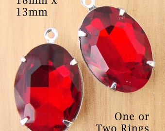 Ruby Red Glass Beads, Silver Plated Brass Settings, 18mm x 13mm, Oval, One or Two Rings, Rhinestones, Glass Jewels, Glass Gems, One Pair