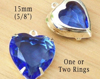 Sapphire Blue Vintage Glass Beads, Heart, Pendant or Earrings, Silver Plated Brass Settings, 15x14mm, Glass Gems, Rhinestone Jewel, One Pair