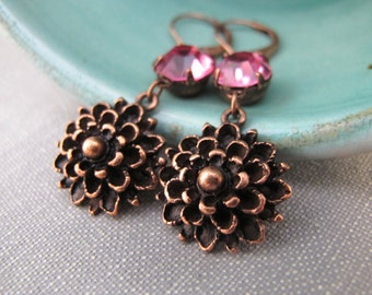 Copper Earrings, Flower Earrings, Pink Rhinestone, Rhinestone Earrings, Dangle Earrings, Mum Flowers, Copper Flowers