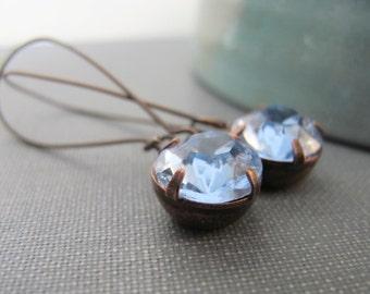 Blue Earrings, Sapphire Blue, Vintage Glass, Glass Earrings, Blue Glass, Copper Earrings, Blue Rhinestones, Dangle Earrings