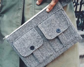 Black Wristlet Wallet, Wool Wallet Wristlet, Cell Phone Wallet, Large Wristlet, Wristlet Purse, Fabric Wallet