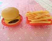 Miniature Burger and Fries, Miniature Food, Polymer Clay Food