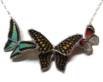 Three Little Butterflies - Graphium Butterflies, Green and Black, Red Black and White 88 Butterfly - Real Butterfly Statement Necklace