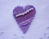 Lilac Heart Silk Pendant with Rose Alabaster Crystals
