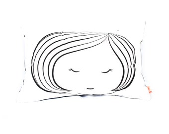 Black Print on White Cotton Girl Face Rectangle Pillow