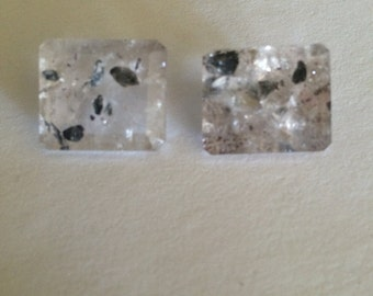 Rare Quartz Gemstone with Rare Mineral Inclusions One Matching Pair