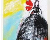 Mixed media on canvas, acrylic painting, collage, portrait, Butterfly Belle
