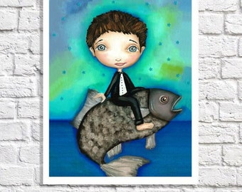 Little Boy Nursery Nautical Artwork Fishing Decor Sea Nursery Ocean Theme Baby Room Whimsical Fish Print Blue & Green Wall Art Idea Picture