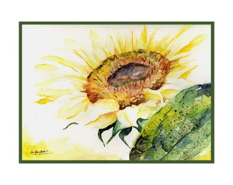 In the Light Watercolor Sunflower Note Cards Notecards, Sunflower Print, Sunflower Stationery, Gift Box, Stocking Stuffers