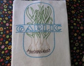 Garlic Cloves  for add Flavor to your Dishes Hand Embroidered  Flour sack  Tea Towel
