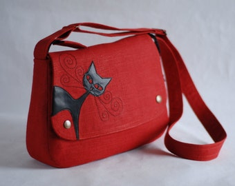 Linen messenger bag, brick red, cat applique, vegan leather, animal friendly