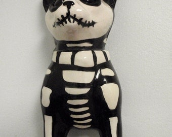 Skeleton cat wall vase