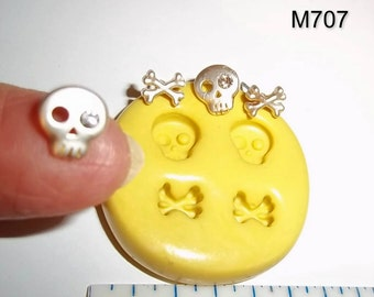 Skull Crossbones Flexible Mold For Resin Polymer Clay - Chocolate - Food Safe Silicone  M707