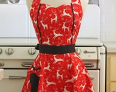 Apron Christmas Reindeer on Red MAGGIE Retro Full Apron