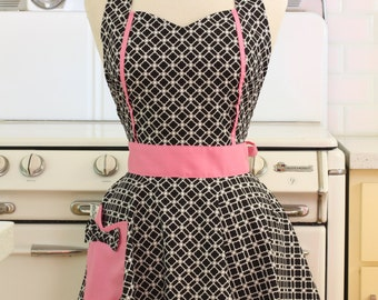 Retro Apron Black and White Deco Tiles with Pink MAGGIE