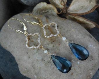 Gold-Filled London Blue Quartz Earrings
