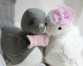Wedding Love birds cake topper  - Love  Birds Wedding cake topper - Fabric Bird Cake Topper - CUSTOM ORDER