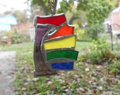 Abstract Rainbow Stained Glass Ornament (Abstract Hummingbird)