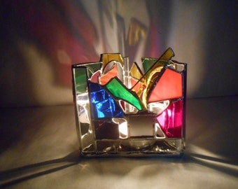 Infinity Reflection Triangle Shaped Rainbow Themed Stained Glass Candle Holder colorful tealight mirrors abstract ooak negative space gifts