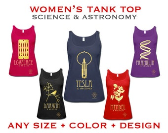 Science Tank Top - Women's Geek Shirt,  Rock Star Scientist, Astronomy Physics Chemistry Biology Nerd TShirt
