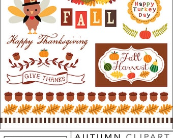 80% off Autumn fall clipart, vines, pumpkin, turkey day, Thanksgiving Banners, clip art Instant Download Lilly Bimble