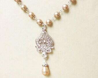 CHAMPAGNE Bridal Necklace, Wedding Jewelry, Champagne Pearl Necklace, Crystal Wedding Necklace, Art Deco Jewelry, JACQUELINE
