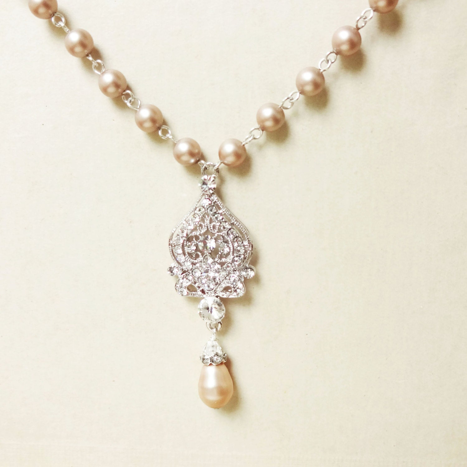 Champagne bridal necklace wedding jewelry champagne pearl for Jewelry for champagne wedding dress