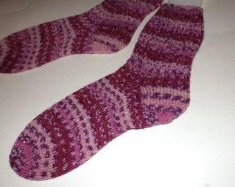 SALE . Hand knit socks . Christmas socks . Knit socks . Purple pink socks . Sugar Plum Twinkle . Wool blend socks . Made in Canada . Medium