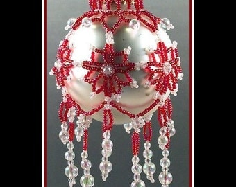 Czarina Red and White Handmade Beaded Tree Ornament
