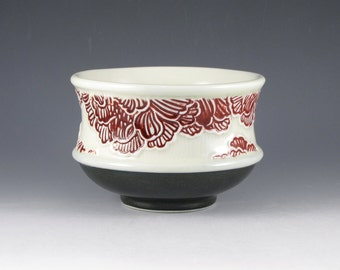 Peony Bowl in Red, White and Black
