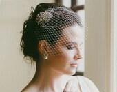 Antique Style Hair Clip with Birdcage Veil, Bianca