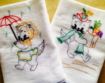 Busy Cat Embroidered Dish Towels