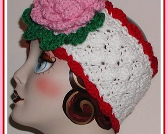 Large Pink Rose Flower Headband White Extra Wide Ski Head Band Ear Warmer Red Green Soft