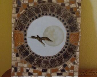 Mosaic Tile Art Wood Plaque Wall Hanging Sea Gull Bird Retro Vintage Broken Plate Pieces