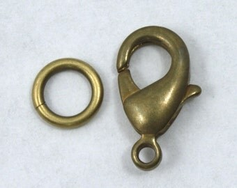 13mm Antique Brass Lobster Clasp #CLB143