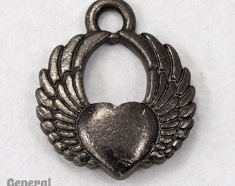 20mm Black Winged Heart Charm #CKD188