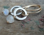 Twinkle Earrings Wonderland Collection - Handmade. Moonstone. 14kt Goldfill. Oxidized Sterling Silver